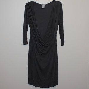 H&M Grey V-Neck Dress 3/4 sleeve L